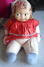 """RARE Vintage 1920s Composition BIG Head Side Looking Girl Character Doll 20"""""""