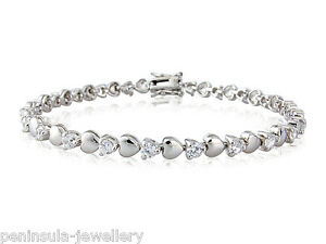 Sterling Silver CZ Tennis Bracelet Hearts Ladies Hallmarked Gift Boxed