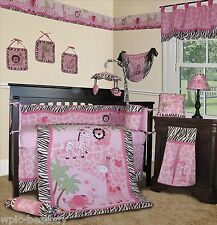 Baby Boutique - Pink Safari - 14 pcs Girl Crib Bedding Set incl. Lamp Shade