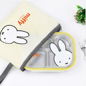 NEW Miffy-STEN Lunchbox Bag Set Stainless Divided Plate For Kids
