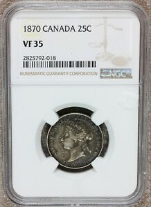 1870 Canada 25 Twenty-Five Cents Silver Coin - NGC VF 35 - KM# 5