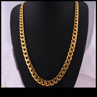 Real 18k Yellow Gold Filled Mens Necklace Long Chain Set Jewelry Christmas Gift
