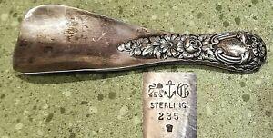 "GORHAM STERLING SILVER SHOE HORN Approx 6"" Wt 40g c. 1890-1900 Antique Floral"