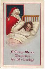 Santa Claus Looking Over Sleeping Girl Christmas Eve Antique PM1913 Postcard