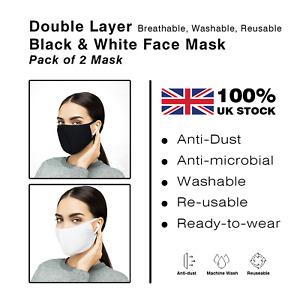 2 Masks Shopping Face Covering Adult Mask Black & White Breathable Washable