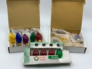NEW Lot of 21 Vintage Transparent C-7.5 Multi-Color Replacement Christmas Bulbs
