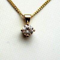 New 1/2ct Champagne Diamond Solitaire 9ct Yellow Gold Pendant £285 Freepost