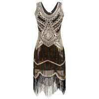 1920s gatsby charleston flapper sequin tassels gold black evening dress UK 10-16