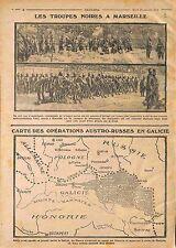 Tirailleurs Sénégalais Marseille/Map Carte Opérations Austria Russia  WWI 1914