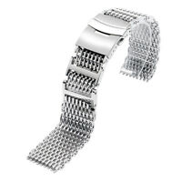 Silver Watch Band Strap 22mm Men Women Solid Link Shark Stainless Steel Mesh