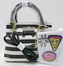 Purse Betsey Johnson NWT $108 Black White Stripe Satchel Crossbody with Patches