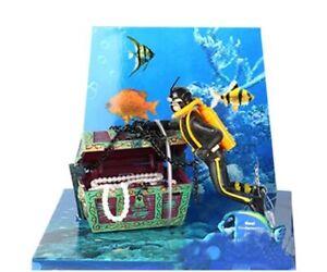 Fish Tank Decorations Aquarium Ornaments Treasure Hunter Diver Resin 5.5x4.5x5cm