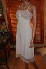 Vtg Kickernick Bridal White Nylon/Chiffon Full Dress Slip Nightgown Lingerie 32