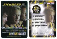 2005 AFL Teamcoach Subway Captain TEAM COACH Card RICHMOND TIGERS KANE JOHNSON
