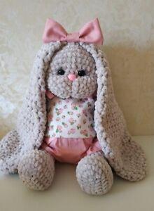 "14"" Handmade CROCHET Bunny Rabbit Knitted Plush Stuffed Animals Amigurumi Safe"