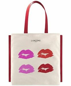LANCOME CANVAS BEIGE LIP TOTE SHOPPING CASUAL BEACH BAGS 16*15*1 INCH
