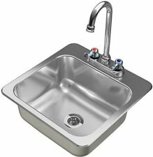 More details for s11sq counter top sunk inset stainless steel hand wash basin sink waste plug & t