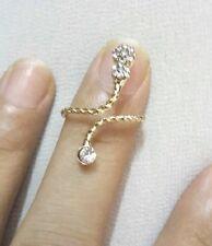 Spiral Cuff Adjust Finger Ring Lady Fashion Elegant Rhinestone Golden