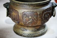 A036 antique estate Japanese carved brass vases. 20 Century