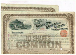 Set 2 Missouri, Kansas and Texas Railway Co., 1890er, VF-VF minus
