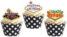 12 x  LAS VEGAS THEME Premium wafer Edible cake party toppers STAND UPS