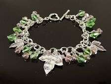 Ivy Link Charm Kappa Bracelet Jewelry Pink & Green Alpha Crystal Aka