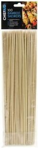 100 x Chef Aid Wooden Kebab BBQ Barbecue Meat Skewers 25.5cm / 10""