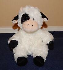 "7"" Aurora Small White & Black Soft Plush Cow in Sitting Position 2010"