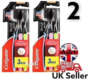 Colgate Slim Soft Active Activated Charcoal Toothbrushes teeth healthy 2x 3pc