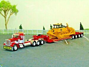 Dcp Custom red/white Peterbilt 359 heavyhaul tractor w/Fontaine dozer load 1/64