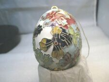 "Cloisonne Champleve Iris Floral Egg Ornament - Blue, Yellow, Mint, Pink 3"" Tall"