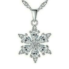 925 Sterling Silver Chain Necklace Snowflake Pendant  Jewellery Valentine Gift