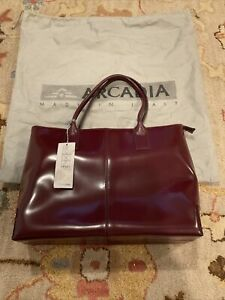 Arcadia Made in Italy Red Brown Leather Purse Hand Bag Satchel NWT