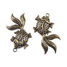 Antique Bronze Alloy Craps Fish Charms Pendant Craft Jewelry 120x 50691