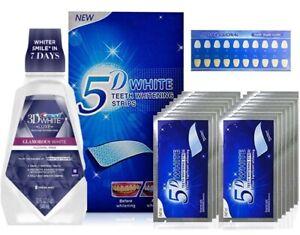 28 WHITE 5D TEETH WHITENING STRIPS + CREST3D FRESH MINT FLAVORMOUTHWASH