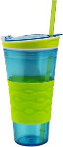 Snackeez Travel Snack & Drink Cup With Straw, Blue