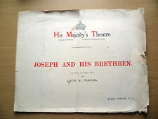 HIS MAJESTY'S THEATRE PROGRAMME 1913- JOSEPH AND HIS BRETHREN by Louis N Parker