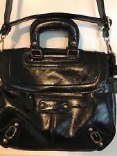 Classic women's black patent Melie Bianca handbag gold accents! Great condition!