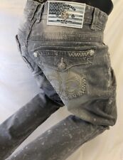 Mens LAGUNA BEACH GRAY JEANS Straight Leg WASH WHITE STITCH FLUER DE LIS Size 42