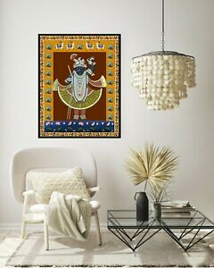 Indian Art Pichwai Painting of lord shrinathji hand painted on cloth decorative