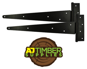 PAIR of Tee Hinges Gate Shed BLACK Light 4/6/8/10 Heavy Duty 12/14/16/18/24