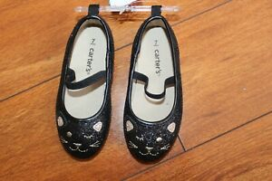 NWT GIRLS CARTERS SZ 7 SHOES BLACK GLITTER
