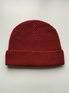100% Pure Cashmere Claret Red Ribbed Beanie Hat Fisherman Knit Warm BNWT Unisex