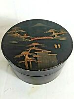 Vintage Oriental Lacquer Ware Round Box Hand Painted