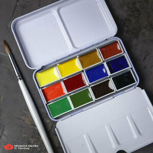 12 Watercolor Paint WHITE NIGHTS® Full Pan Tin Metal Box Palette Russian