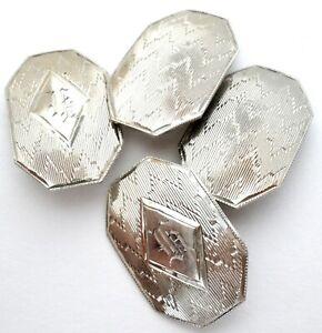 Art Deco 14K White Gold Cufflinks Men's Hand Engraved H Antique Cuff Links