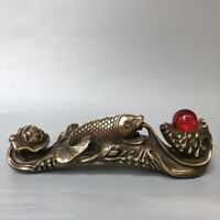 21cm noble fengshui Decor copper bronze fish lotus auspicious statue ruyi