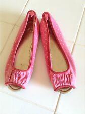 Girls Gap Peep Toe Canvas Flats Pink Polka Dot Size 3