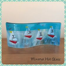 Curved Fused Glass, Wave, Sailing Boats, Yachts, Nautical, Minerva Hot Glass