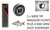 Fishing Waggler Floats Wide Tip and 4 Way Split Shot Coarse Match NGT Pack of 5